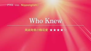 P!NK(ピンク)が歌うWho Knew(フー・ニュー)